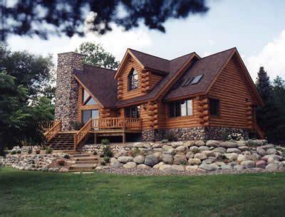exterior log home  rock landscape dream home log