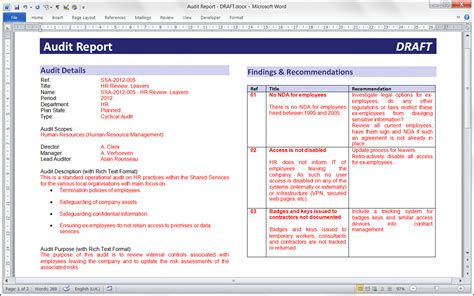 Internal audit working papers