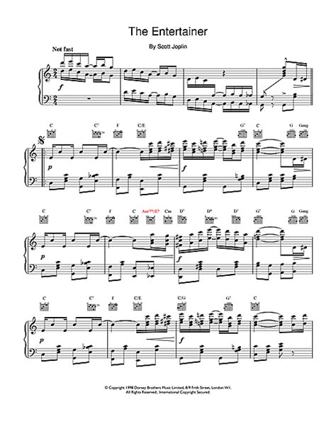 """This gained enormous popularity in 1973 when used for the film the sting. Scott Joplin """"The Entertainer"""" Sheet Music PDF Notes, Chords 