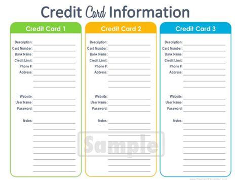 credit card information printable editable by freshandorganized