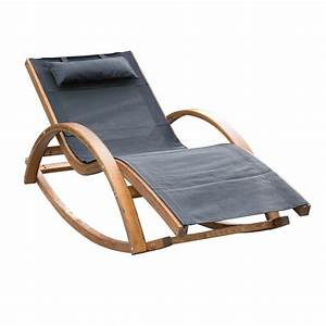 Outsunny Wooden Mesh Patio Rocking Chaise Lounge Outdoor