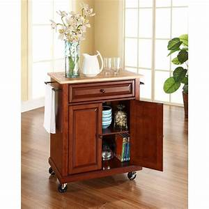 crosley cherry kitchen cart with natural wood top With what kind of paint to use on kitchen cabinets for pink depression glass candle holders
