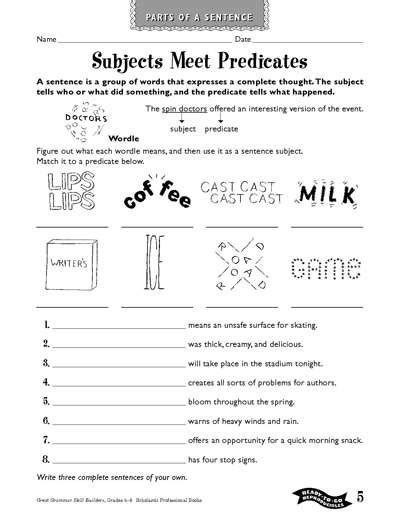 subjects meet predicates worksheets printables