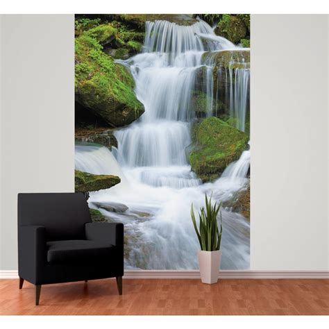 wall tropical forest waterfall wallpaper mural