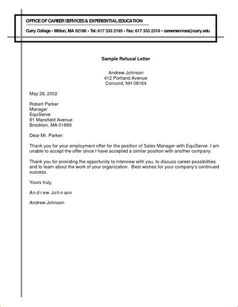 write  refusal letter