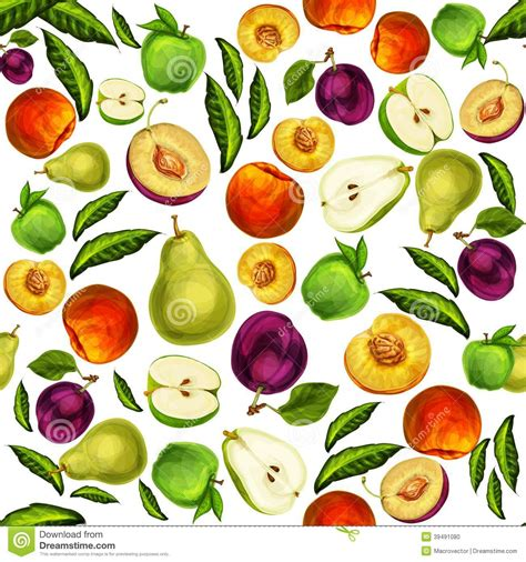 Seamless Mixed Sliced Fruits Pattern Background Stock