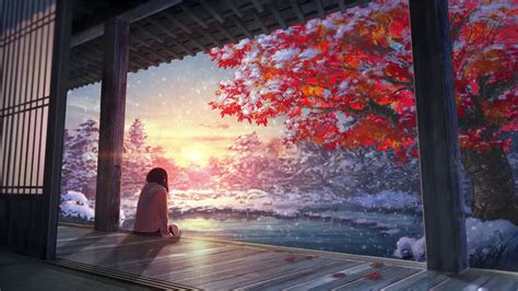 Anime Winter Scenery Wallpaper - anime winter snow scenery animated wallpaper