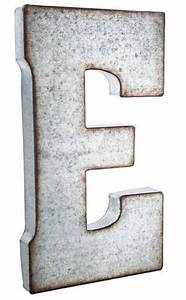 large 20 silver galvanized vintage metal letter e marquee With galvanized letter b