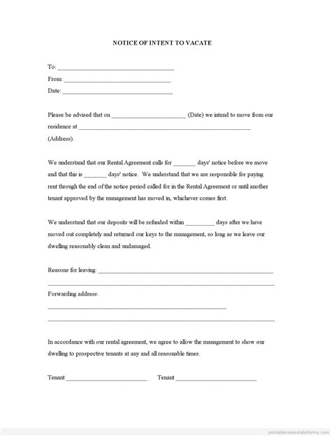 sample printable notice  intent  vacate form