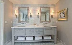 Master Bath inspiration: Light gray vanity with white