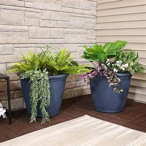 Sunnydaze, Anjelica, Outdoor, Flower, Pot, Planter, -, Slate, Finish, -, 24-inch, -, 2-pack