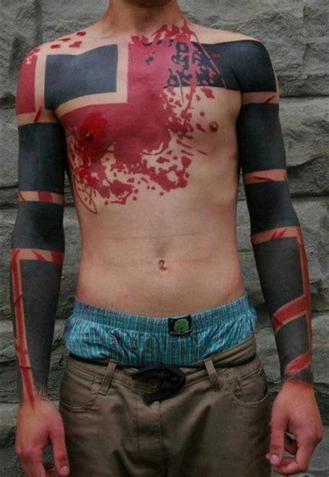 rectangles  red spots blackwork tattoo  tattoo