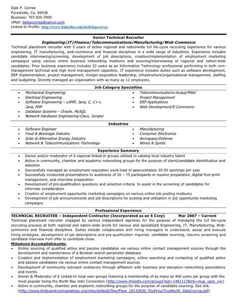 Technical Recruiter Resume Exle d correa resume technical recruiter v20111024