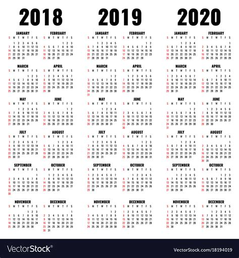 calendar template years vector image
