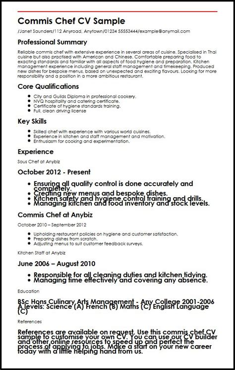 commis chef description resume 28 images sous chef cv