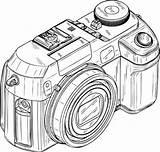 Camera Coloring Digital Pages Coloringsky Dslr Template sketch template