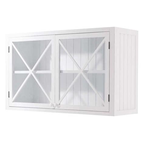 meuble haut cuisine blanc meuble haut vitré de cuisine en pin blanc l 120 cm newport