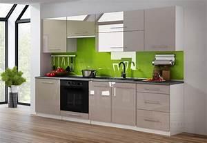 Küchenzeile 240 Cm : kaufexpert k chenzeile linda cappuccino hochglanz 240 cm ~ Orissabook.com Haus und Dekorationen