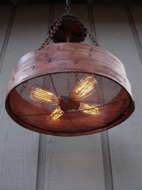 Rustic Hanging Light Upcycled Vintage Farm Sieve Rustic Light