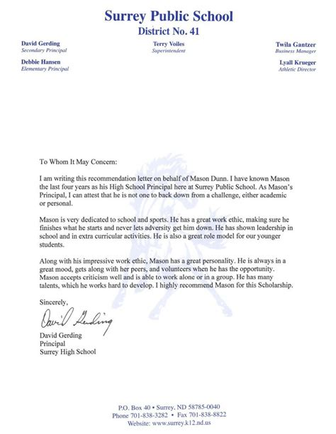 recommendation letter principal minot association
