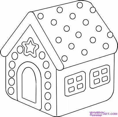 Coloring Gingerbread Draw Pages Christmas Printable Candy