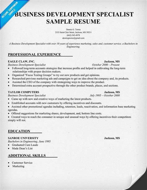 business development specialist resume sle resume