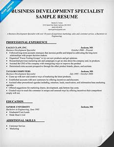 Business Development Specialist Resume Sample