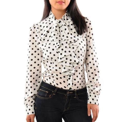 polka dot blouses 39 s ruffle front tie polka dot print top