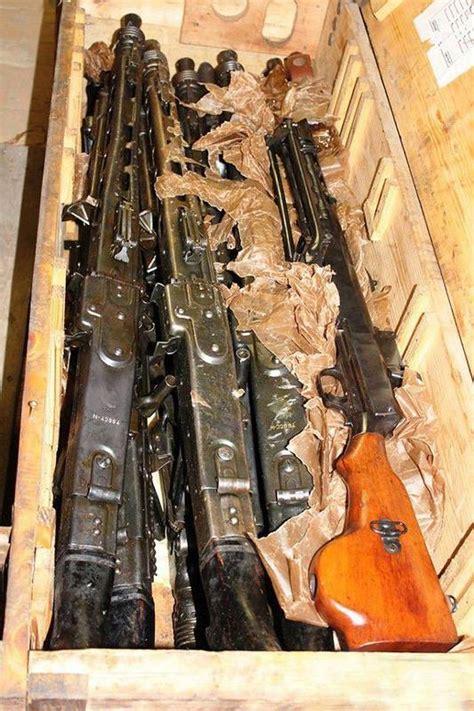 found guns warehouse russian crates wwii machine firearm russia