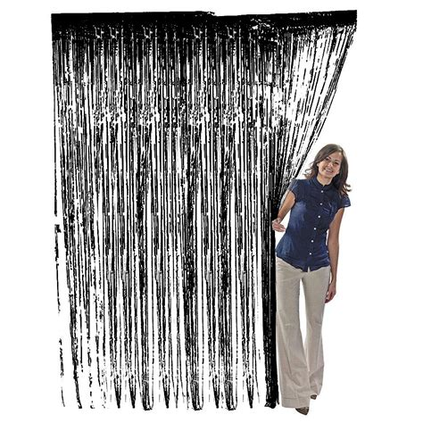 Foil Curtain Backdrop by Metallic Black Tinsel Foil Fringe Curtain Photo Backdrop