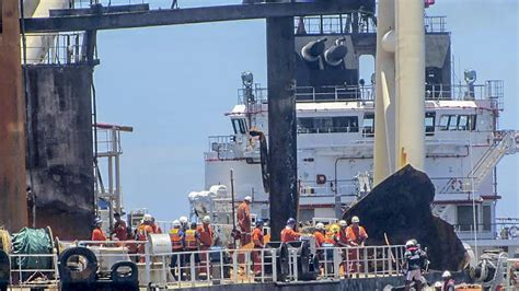 Salvagers mend ruptures in fire-hit oil tanker off Sri ...