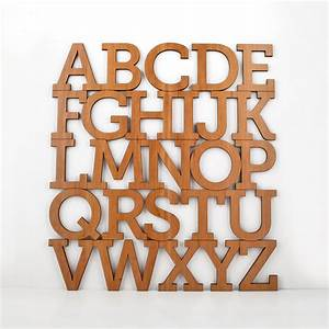 Wood alphabet letter modern typography by graphicspaceswood for Wooden alphabet letters wall decor