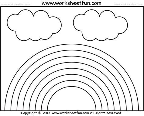 rainbow tracing  coloring  preschool worksheets  printable worksheets worksheetfun