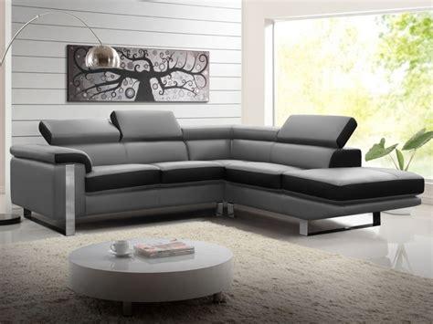 canapé noir angle canapé d 39 angle en cuir de vachette 3 coloris mystique