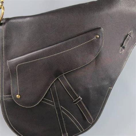christian dior black leather large crossbody saddle bag