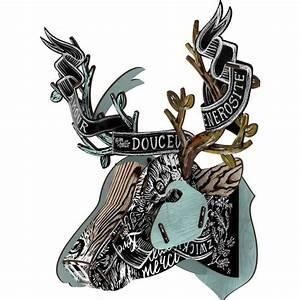 Trophée Tête De Cerf : t te de cerf miho troph e en bois cervo258 rose bunker ~ Teatrodelosmanantiales.com Idées de Décoration
