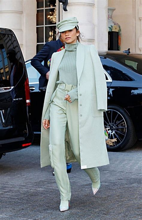 zendaya slays paris fashion week  mint monochrome