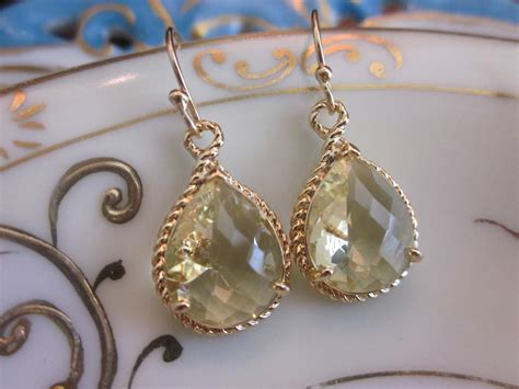 Wedding Jewelry Gold : Citrine Earrings Yellow Gold Earrings Bridesmaid Earrings