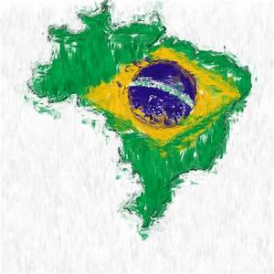 Brazil Painted Flag Map Painting by Antony McAulay