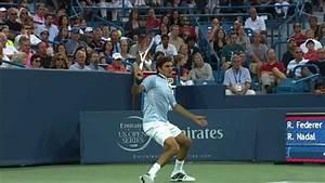 Roger Federer Backhand Hot Shot On Set Point Against Nadal ...