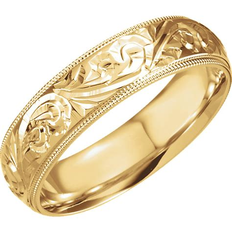 18k yellow gold 6mm engraved comfort fit milgrain wedding band sarraf com