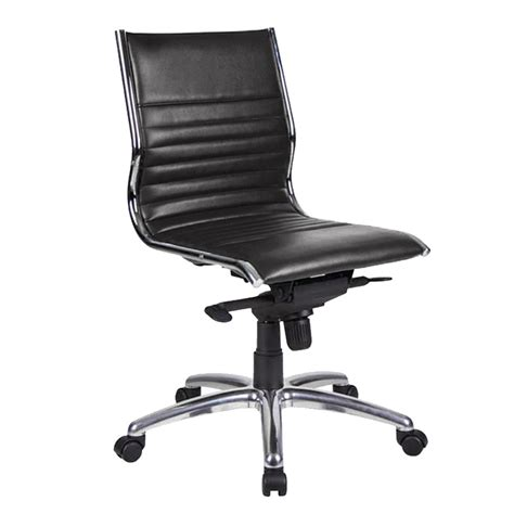 Aria Medium Back Chair, Black Leather  Fast Office Furniture