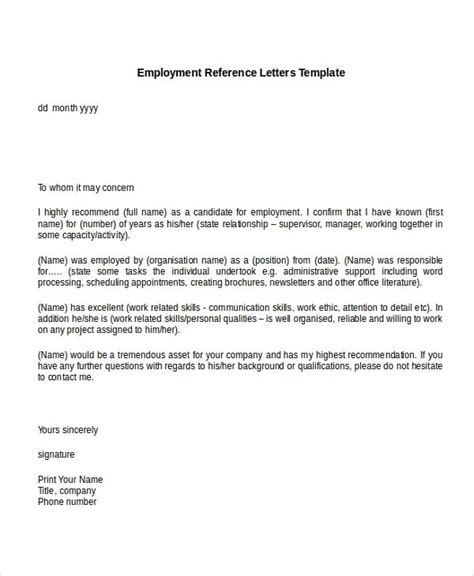 employment reference letter templates  sample