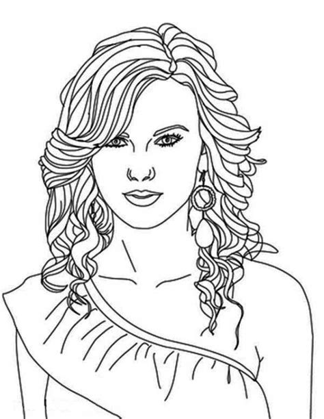 taylor swift coloring page famous people coloring pages