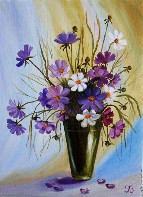 bouquet  cosmos oil painting flowers   vase shop