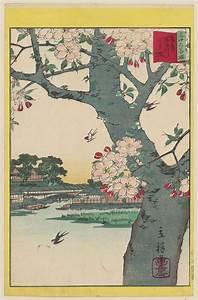 Utagawa Hiroshige II: Double Cherry Blossoms at the Sumida ...