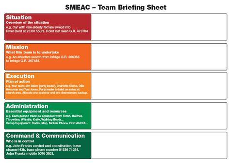 team briefing sheet swift water rescue