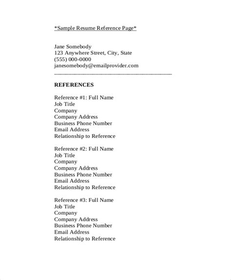Sle Professional Reference List by Sle Reference List 9 Exles In Pdf Word