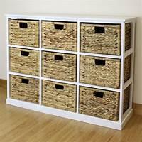 storage with baskets Storage Baskets: Basket Storage Unit Wooden Storage Shelf With Wicker Baskets White Basket ...