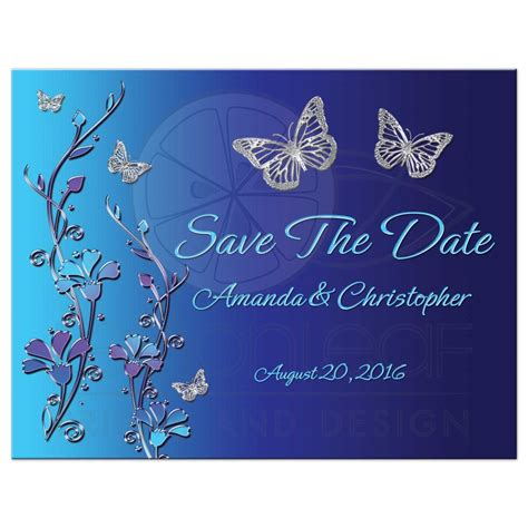 Wedding Save The Date Post Card Royal Blue Turquoise